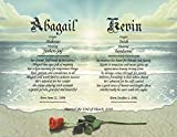 Rose On Beach - Personalized ANY First Name Meaning Keepsake Print 8.5' x 11' | Couple Engagement Anniversary Vows Wedding Valentines