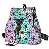 New Geometric Casual Daypacks Lingge Women Backpack Luminous Flash Mens Backpacks Travel Shoulder Bag Rucksack (D)