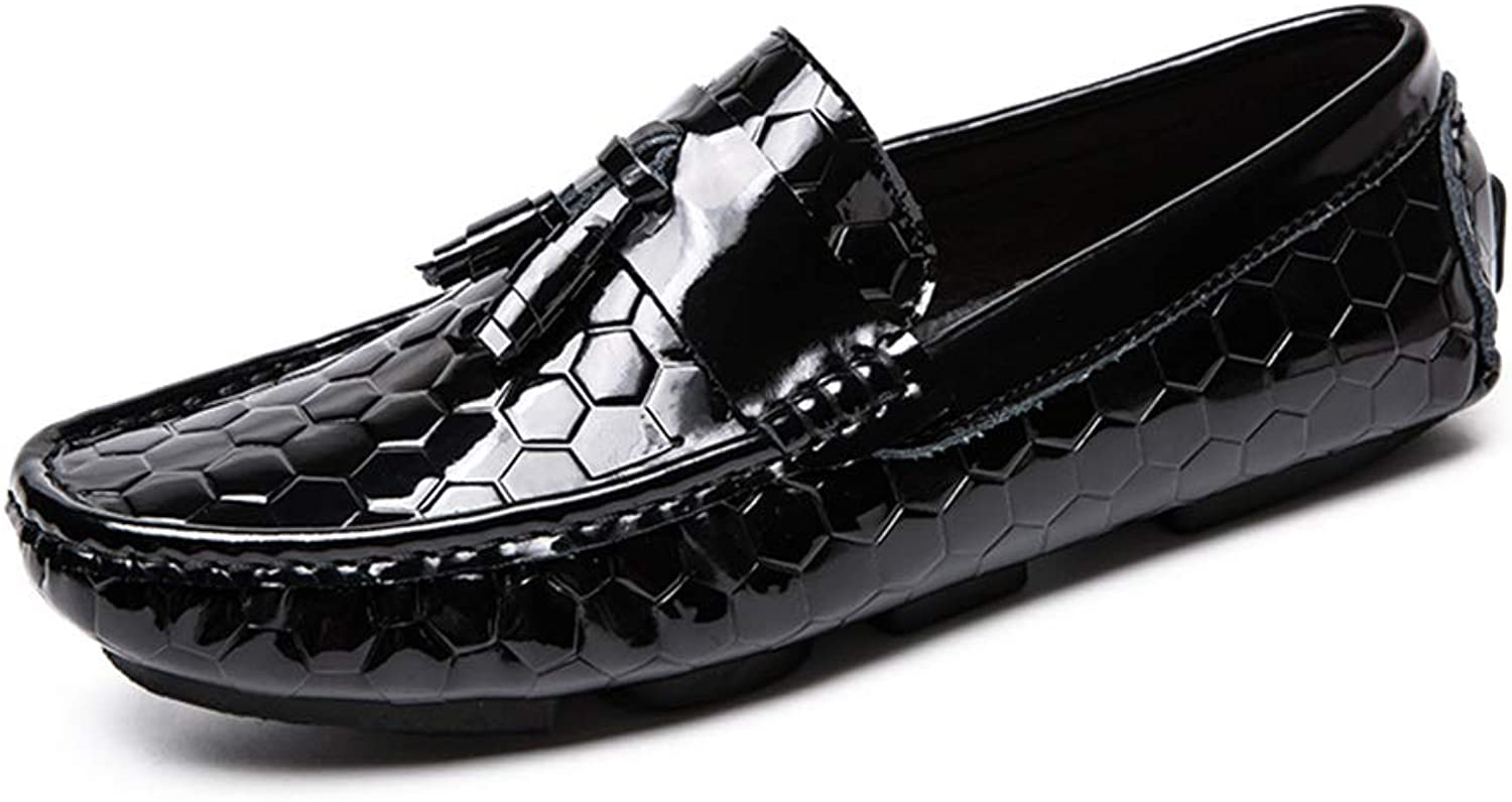MUMUWU Smooth Upper Fashion Embossed Penny Loafers for Men PU Leather Lightweight Breathable Dress (color   Black, Size   9 D(M) US)