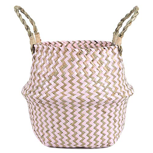 FEILANDUO Laundry Basket Wicker Woven Belly Baskets Decor Home Storage for Fruit Hand-woven Seaweed Collapsible with Handle for Organizer Plant Pot Cover(Pink, Large)