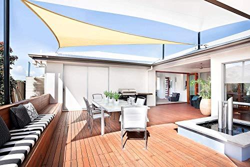 Sunnylaxx Vela de Sombra Triangular 3.6 x 3.6 x 3.6 Metros, toldo Resistente e Impermeable, para Exteriores, jardín, Color Arena