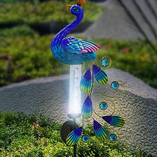 Solarlampen für Außen Solarleuchten Garten Deko Solarleuchte Vintage Solar Pfau Licht im Freien Eisen Pfau Tier Regenmesser Statue
