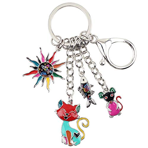 LZHLMCL Wife Key Ring Chain Giftenamel Alloy Child Tale Sun Cat Fish Mouse Key Chain Keychain Ring Jewelry For Women Girls Gift Bag Multicolor