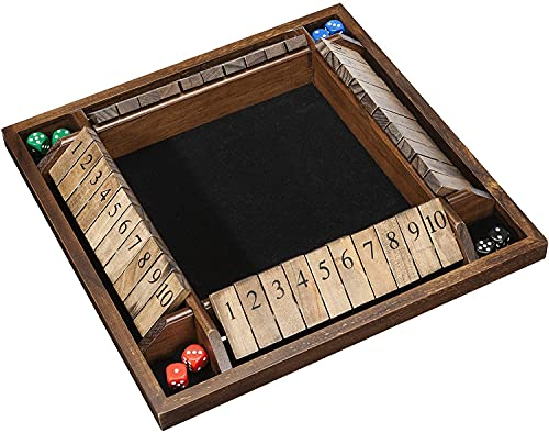 4 Player Shut The Box(TM) Dice Game - Walnut Stained Wood - Large Coffee Table Size - 14 Inches