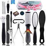 Professional Pedicure Kit(17in1),Stainless Steel Foot File Exfoliating Prevent Clean Dead Skin Tool Kit,Nail Toenail Clipper Foot Care Kit for Men,Women,Salon,Home (Black)