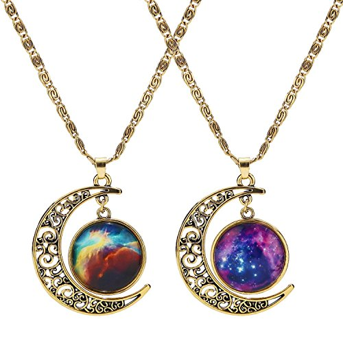 LEGITTA Nebulae Cabochon Friendship BFF Best Friend Necklace of 2 Crescent Moon Pendant Necklaces Antique Gold for Women Girls B107G