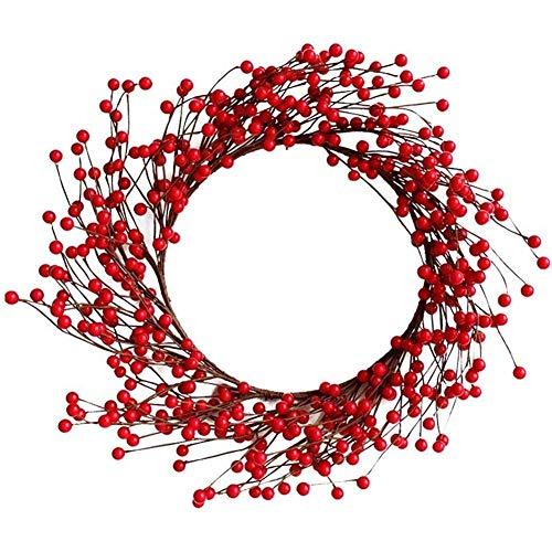 PORU Weihnachtsdekoration Anhänger Simulation Berry Fortune-Frucht-Weihnachtskranz Rattan Tür Hängende Dekoration 40cm Diameter/350g