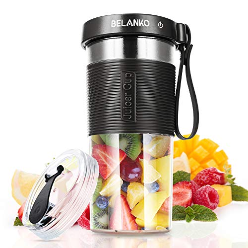 Portable Blender, BELANKO Personal Size Blender for Smoothies, Juice and Shakes, Food Grade Travel Blender Juicer Cup 11/20oz with USB Rechargeable for Home, Sport, Office, Outdoors - Black Gray