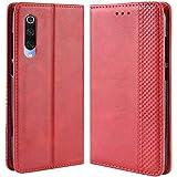 HualuBro Handyhülle für Xiaomi Mi 9 SE Hülle, Retro Leder Brieftasche Tasche Schutzhülle Handytasche LederHülle Flip Hülle Cover für Xiaomi Mi 9 SE 2019 - Rot