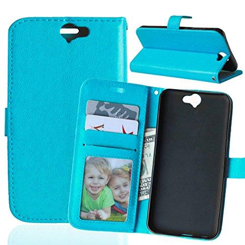 Funda HTC One A9 ,Bookstyle 3 Card Slot PU Cuero cartera para TPU Silicone Case Cover-Azul