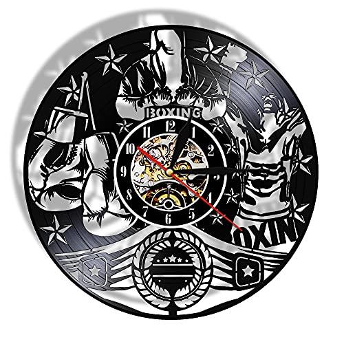 """Reloj de pared de vinilo Boxeo moderno silencioso disco de vinilo LP reloj de pared reloj de lucha deportes arte Pugilista hombre cueva motivación varonil decoración boxeadores regalo - 30cm.12"""""""