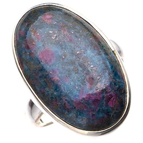StarGems StarGems Turmalina natural en cuarzo hecho a mano anillo de plata de ley 925 K 1/2 E3470