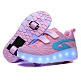 Axcer USB Recargar LED Luces Skateboarding Zapatos con Ruedas Dobles para Pequeños Niños y Niña Calzado de Deportes de Exterior Patines Brillante Mutilsport Aire Libre y Deporte Gimnasia Zapatillas