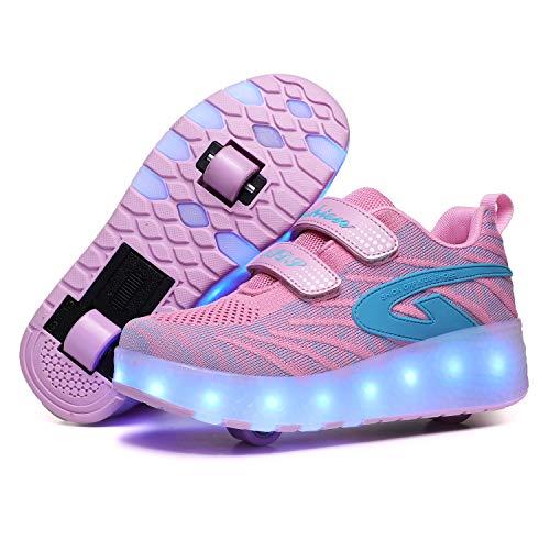Zapatillas deportivas unisex con LED USB recargables para niños, con ruedas dobles, retráctiles, para niños y niñas, Pink1868 Double Wheel, 33 EU