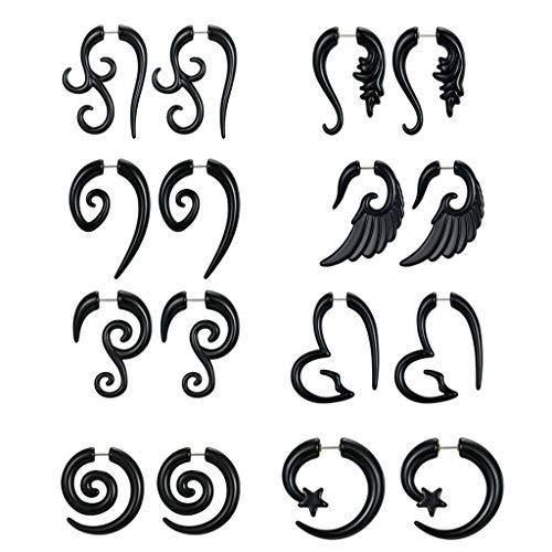 bibididi 8 Pares de calibres Falsos espirales Tribales agraciados de 16G, Tapones de acrílico para Orejas, Tapones Falsos, aretes de Cuerno, Conjunto de Joyas Unisex, Exquisito y Duradero