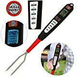 Grille Perfect Digital Meat Thermometer for Grilling and Barbecue Turner Fork with Ready Alarm