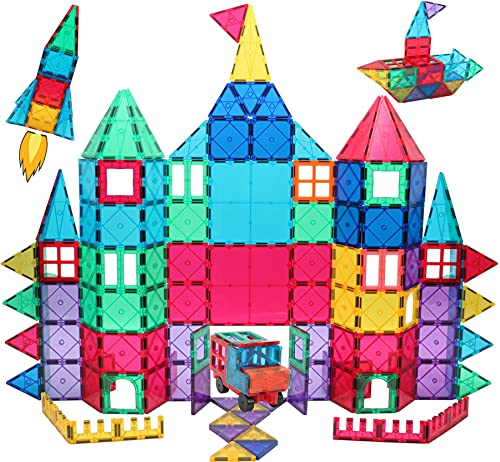 Manve Magnetic Blocks Tiles Toy, 130 PCS Magnet Building Toys,Educational Toys for Kids Children with 2 Sets of CAR Chassis