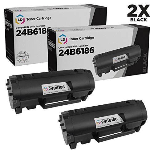 LD Compatible Toner Cartridge Replacements for Lexmark 24B6186 (Black, 2-Pack)