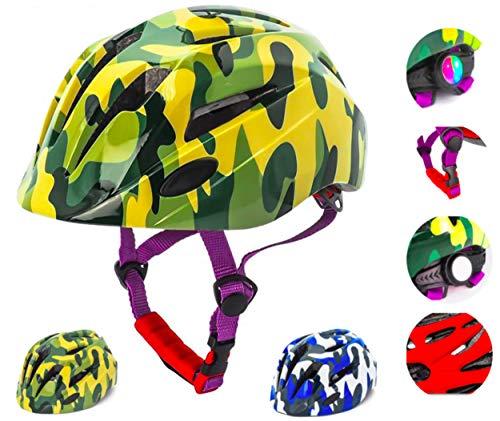 crojuento - Casco da bicicletta per bambini, 2-10 anni, casco da bici, lampeggiante, regolabile, per bambine e ragazzi, protezione per ciclismo