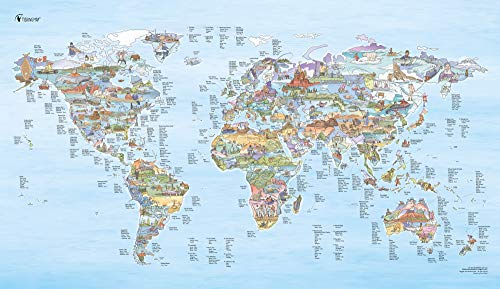 Fishing Spot Map by Awesome Maps - Illustrated World Map for Anglers and Fishermen - rewritable - 97.5 x 56 cm