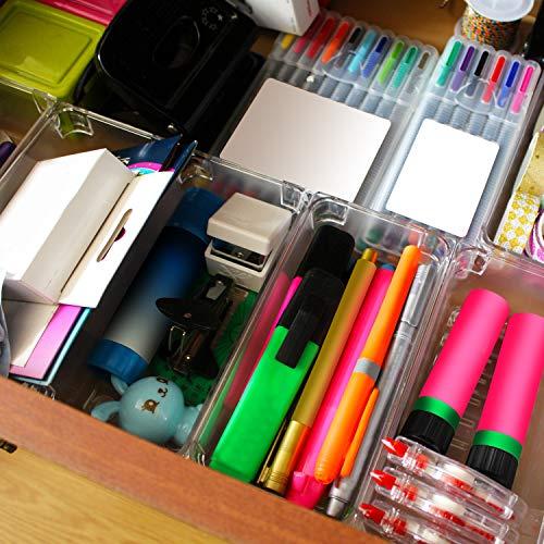 Organizador cajones escritorio (6 piezas) - Organizador papelería acrílico (8x16,5x5cm) - Organizador escritorio oficina semitransparente para cocina, baños, papelería, escuela, armario y accesorios