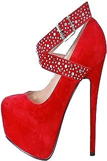 KOLNOO Handmade Womens Super Heel Pumps X-straps Platform Sexy Dress Shoes Party Prom Fashion Office Court Shoes