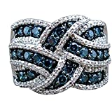 WensLTD Exquisite 925 Silver White Sapphire Ring Wedding Engagement Bridal Jewelry Rings for Womens Girls (US Size 9, Blue)