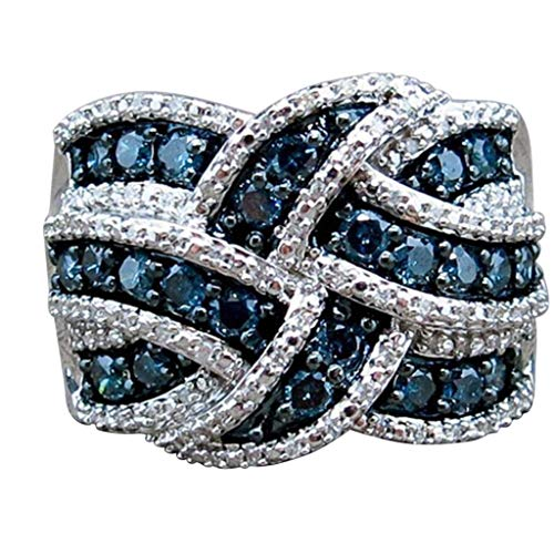 WensLTD Exquisite 925 Silver White Sapphire Ring Wedding Engagement Bridal Jewelry Rings for Womens Girls (US Size 7, Blue)