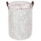 zyl Organizador de canastas de lavandería Canasta de lavandería Caliente con asa de Cuero Duradero cordón Impermeable Redonda de algodón Lino Plegable de Almacenamiento Canasta de lavand