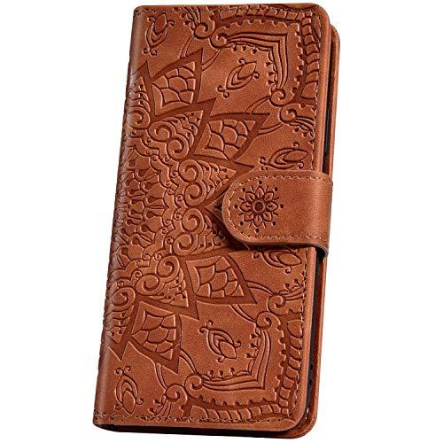 JAWSEU Handyhülle für Xiaomi Pocophone F1 hülle Handytasche,Mandala Blumen Motiv Muster Leder hülle Flip Case Schutzhülle Brieftasche Klapphülle Wallet Bookstyle Tasche Magnet Kartenfach,Braun