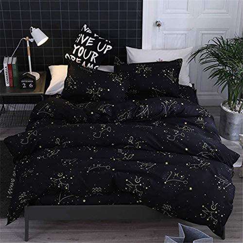 HJSM - Juego de cama de 4 piezas, funda de edredón, microfibra, cómodo conjunto de ropa de cama para dormitorio, elegante sábana y fundas de almohada (Constelación, 220 x 240 cm, 2,2 m)