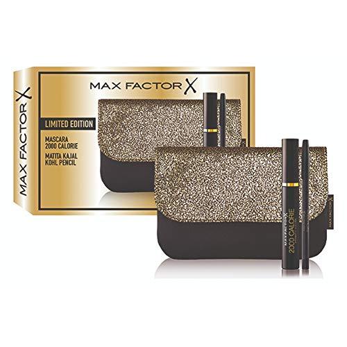 Max Factor Confezione Regalo con Mascara 2000 Calorie, Matita Occhi Kajal Kohl Pencil ed Elegante Pochette con Dettagli Dorati