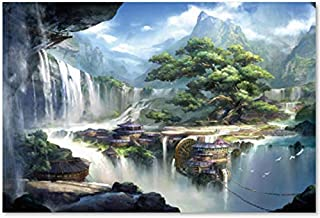Queenie 1000 Piece Abstract Art Water Waterfall Isolated Island Wonderland Puzzle City of Machine Operated Adults Games Toy Wooden Jigsaw Puzzles