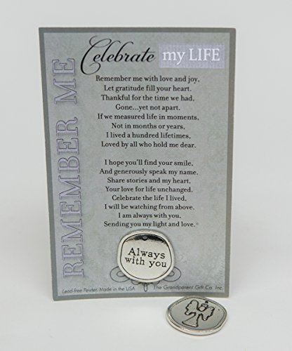Bereavement/Sympathy/ Remembrance/Memorial/Inspirational Keepsake Pewter Coin with Celebrate My Life Poem (2)
