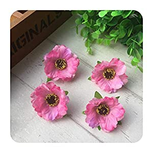 PrettyR 100pcs/lot 4Cm Mini Silk Cherry Blossoms Small Artificial Rose Flowers Heads Poppy Wreath Wedding Decoration for Scrapbooking-Pink