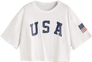 SweatyRocks Women`s Letter Print Crop Tops Summer Short Sleeve T-Shirt