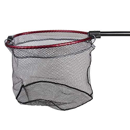 Fladen Fishing - Folding Landing Net PIKE and BOAT (60cm x 50cm x 75cm Deep) Rubberised Fish Safe Mesh with 90cm Single Piece Pole Handle - [32-336050]