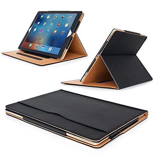 MOFRED Black & Tan Apple iPad Executive Leather Case for Apple iPad Pro 12.9' (For 2015,2017 and 2018 Versions)- Voted by 'The Daily Telegraph' as #1 iPad Case! (iPad Models A1670, A1671, A1584, A1652)