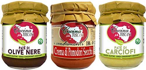 CUCINA TOSCANA - Tris Patè Vegetali Patè di Olive Nere | Crema di Pomodori Secchi | Patè di Carciofi 3x180g