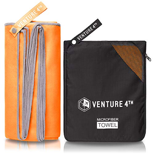 VENTURE 4TH Microfiber Travel Towel - Sports Towel: Best Shamie - Accessories for Face Care, Gym, Yoga or a Spin at The Beach - Fast Drying and Lightweight Washcloth (Orange-Gray Extra Large)