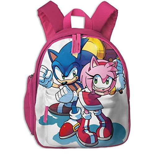Mochila de picnic con aislamiento, So-nic y Amy con correas acolchadas para los hombros, bolsa de preescolar grande fuerte para niños y niñas Sonic and Amy - Rosa 12.6 x 10.2 x 3.9 inch