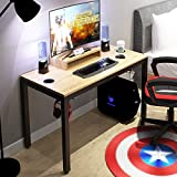 DlandHome Bureau PC Gaming Table pour Ordinateur de Jeu avec Support Amovible, 120 * 60cm Table de Jeu/Poste de Travail, Teck & Noir