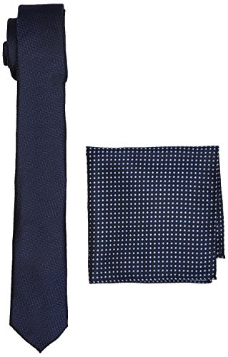 Burton Menswear London Navy Texture Set Conjunto de corbata, Azul (marino), Talla única para Hombre