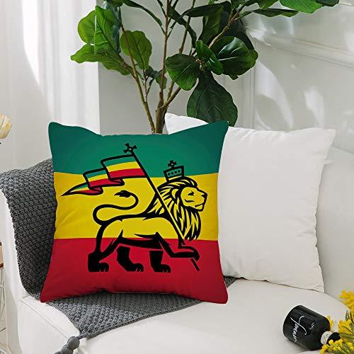Kissenbezug Polyester Kissenhülle Dekorative,Rasta, Juda Löwe mit einer Rastafari Flagge King Jungle Reggae Theme,Dekokissen mit Verstecktem Reißverschluss Sofa Schlafzimmer Auto 19x 19 Inch 50 x 50cm
