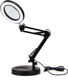 Lámpara de Escritorio con Lupa 5X, lámpara LED de Lupa Plegable con Base, lámpara de Lupa de Escritorio Ajustable, lámpara de Lupa de Escritorio USB para Leer, Manualidades, Tatuajes