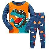 TEDD Conjunto de pijama, camiseta de manga larga con estampado de dinosaurio, algodón, ropa de dormir para invierno [2 piezas] para niños [7-8 años] [Azul]