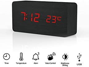 Rubik Wooden Digital Alarm Clock, Wood LED Adjustable Brightness Voice Control Desk Wooden Alarm Clock with Date/Temperature and USB/Battery Powered for Home, Office, Kids, Black and Red