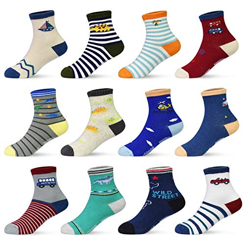 HYCLES ABS Socken Kinder - 12 Paar Anti Rutsch Socken Baby Jungen Mädchen Kinder Kleinkind 16-23-26-31(EU) für 3-5 Jahre Dinosaurier (12 Paare)