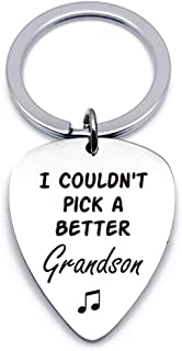 Best Grandson Guitar Pick Gifts for Him Men - Stainless Steel Guitar Pick Keychain Keyring - Musician Gift Ideas for Grand...