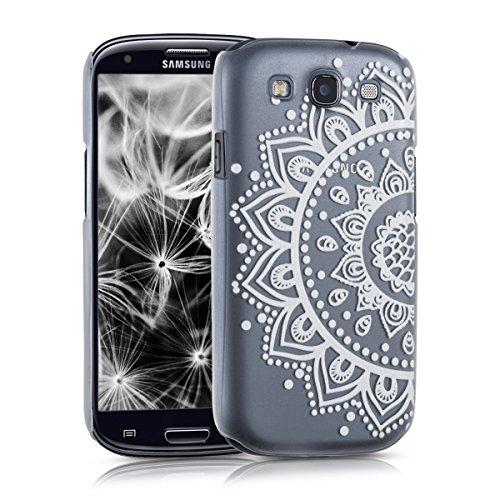 kwmobile Cover Compatibile con Samsung Galaxy S3 / S3 Neo - Custodia Rigida Trasparente per Cellulare - Back Case Cristallo in plastica - Mandala Girasole Bianco/Trasparente